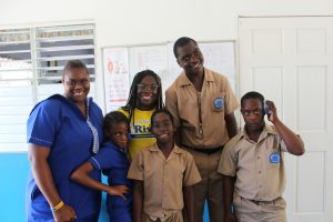 Students at Edgehill School of Special Education with Project Coordinator.